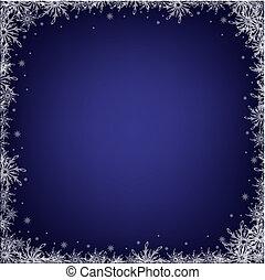 bleu sombre, flocons neige, fond