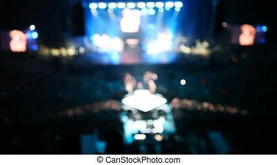 bleu, sombre, image, concert, gens, lumière, scène, salle