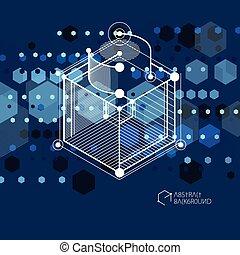 bleu, sombre, isométrique, cube, disposition, linéaire, elements., formes, résumé, différent, vecteur, dimensionnel, maille, hexagones, fond, cubes, rectangles, carrés, 3d