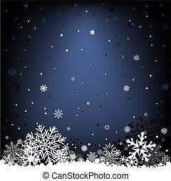 bleu sombre, maille, neige, fond