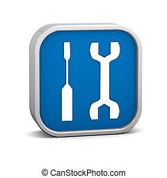 bleu sombre, outils, signe