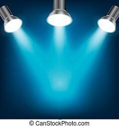 bleu, sombre, projecteurs, fond