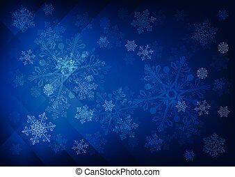 bleu, sombre, résumé, flocons neige, fond