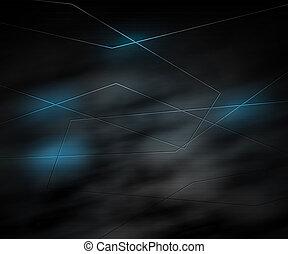 bleu, sombre, résumé, technologie, fond