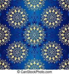 bleu sombre, seamless, vendange, modèle