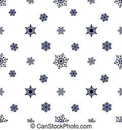 bleu sombre, snowflake blanc, fond