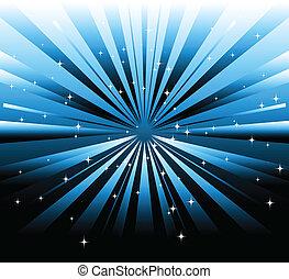 bleu, sombre, vecteur, fond, rayon