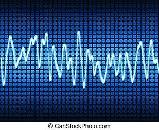 bleu, son, électronique, vague sinus