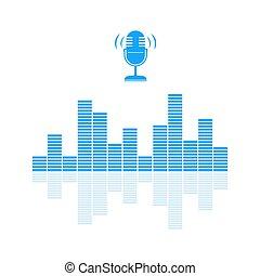 bleu, son, microphone, audio, dessiner