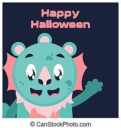 bleu, sourire, halloween, monstre, salutation