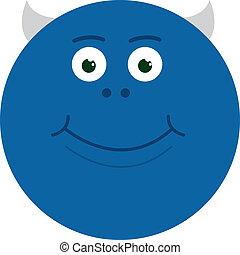 bleu, sourire, monstre
