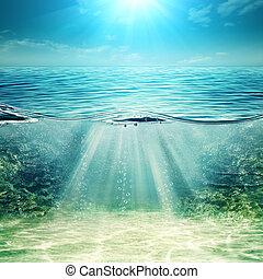 bleu, sous-marin, résumé, arrière-plans, profond, conception...
