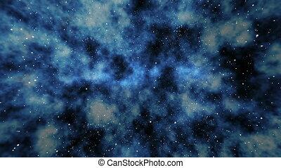 "bleu, space"", extérieur, profond, par, ""flying"