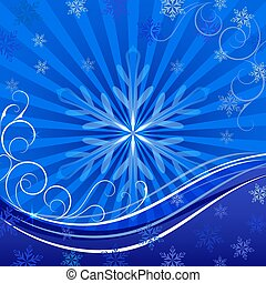 bleu, space., noël, vecteur, fond, copie, flocon de neige