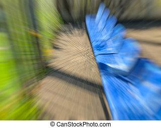 bleu, spectateurs, résumé, effet, banc, mouvement, stadium., barbouillage, devant