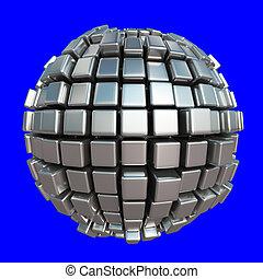 bleu, sphère, cube, fond, métallique