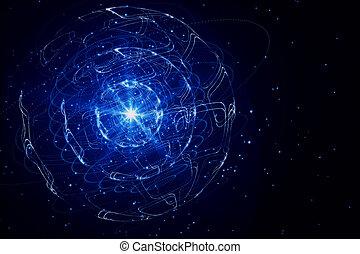 bleu, sphère, fond, créatif