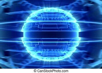 bleu, sphère, lueur