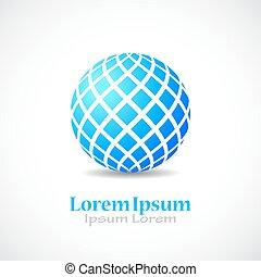 bleu, sphère, résumé, vecteur, icône