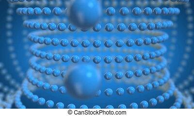 bleu, sphères, en mouvement, loopable, fond