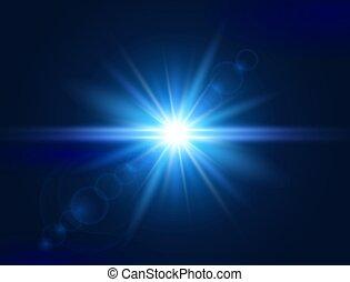 bleu, star., éclat, effect., lumière, flash, flare., rayons, illustration, lentille, incandescent, vecteur, light., spotlight., explosion