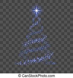 bleu, star., card., éclat, symbole, decoration., arbre, 3d, illustration, transparent, année, arrière-plan., clair, vecteur, joyeux, nouveau, vacances, noël, celebration., heureux