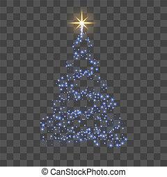 bleu, star., card., or, éclat, symbole, decoration., arbre, 3d, illustration, transparent, année, arrière-plan., clair, vecteur, joyeux, nouveau, vacances, noël, celebration., heureux