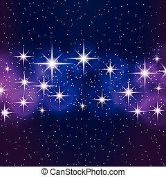 bleu, stars., résumé, fond, briller