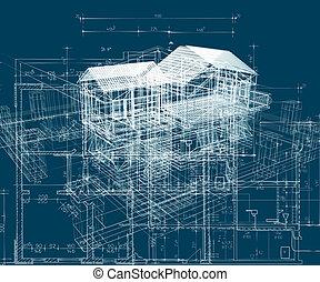bleu, structure, bâtiment