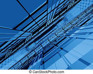 bleu, structure, infinité, 3d