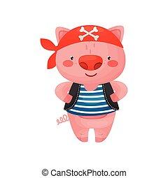 bleu, style, caractère, gilet, cochon, bandana., blanc rouge, pirate, dessin animé