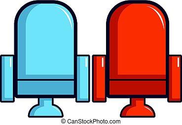 bleu, style, cinéma, icône, fauteuils, dessin animé, rouges
