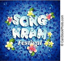 bleu, style, illustration., festival, tropical., papier, songkran, vecteur, eau, avril, thaïlande, fleurs, lettrage