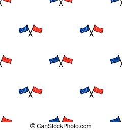 bleu, style, illustration., symbole, isolé, arrière-plan., paintball, vecteur, drapeaux, blanc, icône, dessin animé, rouges, stockage