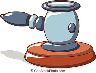 bleu, style, juge, icône, marteau, dessin animé