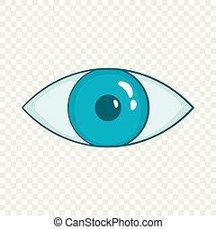 bleu, style, oeil, dessin animé, icône
