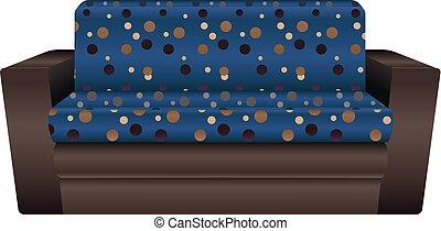 bleu, style, pointillé, sofa, icône, dessin animé