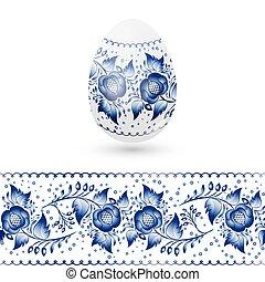bleu, stylisé, oeuf, pattern., illustration, traditionnel, russe, vecteur, floral, paques, gzhel.