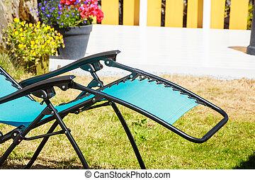 bleu, sunbed, chaise, jardin, pont