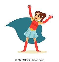 bleu, superhero, avoir, pouvoirs, caractère, déguisement, feindre, habillé, cap, girl, super, sourire, queue cheval
