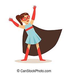 bleu, superhero, feindre, robe, habillé, masque, noir, déguisement, avoir, cap, girl, super, sourire, pouvoirs, caractère