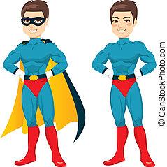 bleu, superhero, homme