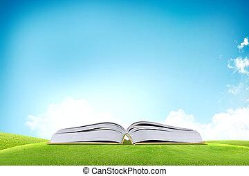bleu, sur, champ ciel, livre, herbe verte, ouvert, il
