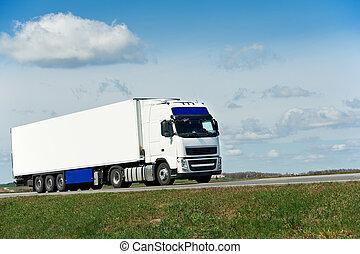 bleu, sur, ciel, blanc, camion, caravane