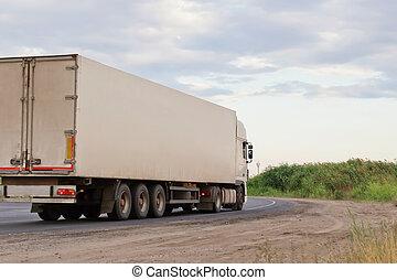 bleu, sur, ciel, caravane, blanc, camion, route