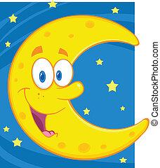 bleu, sur, ciel, croissant de lune
