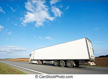 bleu, sur, ciel, dos, blanc, camion, caravane
