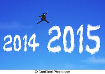 bleu, sur, ciel, forme, sauter, 2015, homme affaires, nuage