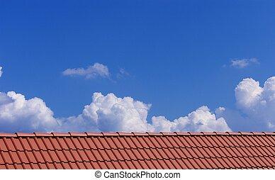 bleu, sur, ciel, toit