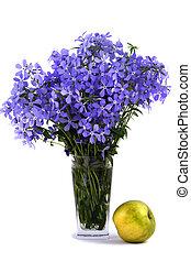 bleu, sur, fleur, pomme, bouquet, flavovirent